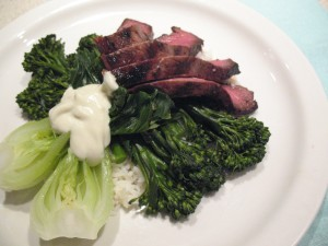 Steak Teriyaki with Baby Bok Choy and Broccoli Rabi