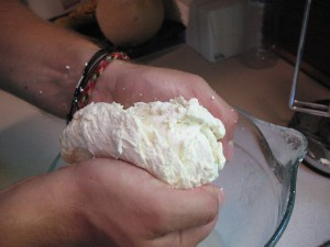 Kneading the Cheese Curd